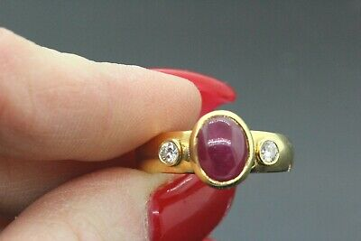 $779.99 • Buy 18k Yellow Gold Ruby & Diamond Unique Ring 1.16 TCW G-H SI1-SI2 6.7g.  #30136