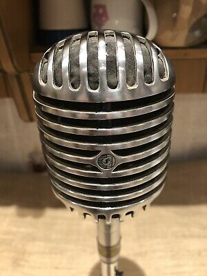 Vintage 1940s Shure Bros 55C Dynamic Microphone, Elvis Old WXLR Cable • 215£