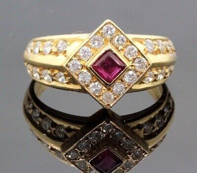 $718.80 • Buy Modern 2 Row .75ct Si G Diamond Ruby 18k Gold Halo Ring Engagement #31964