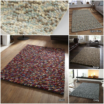 Small Large Hand Knotted Pure Wool Heavy Shag Pile Pebble Think Shaggy Multi Rug • 209.99£
