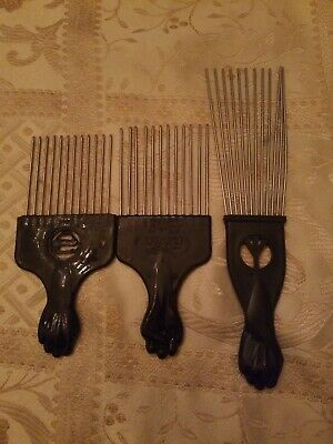 $15.99 • Buy 3 Professional Salon Fan Black Afro Hair Metal Picks Combs