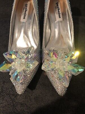 Xmas Party New Year Party Diamond Embellished Silver Court  Shoes • 25£