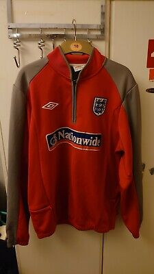 Umbro England Fleece Zip Neck Football Training Top Jacket Size L Nationwide Red • 20£