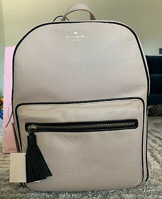 $ CDN303.19 • Buy Kate Spade Chester Street Aveline Large Backpack Warm Beige / Black  Tassel