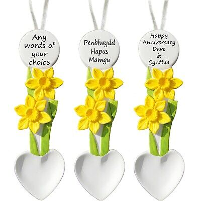 £15.50 • Buy Daffodil Love Spoon, Personalised -  Birthday - Mothers Day - Wedding Welsh Gift