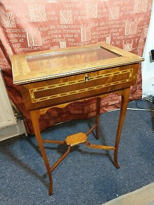 Exquisite Small Antique Vintage Mahogany Carved Inlay Marquetry Bijouterie Table • 345£