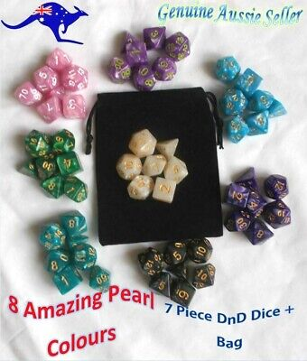 AU10.98 • Buy Polyhedral Dungeons And Dragons Dice Set DnD Dice Pearl Dice + Bag For RPG Games