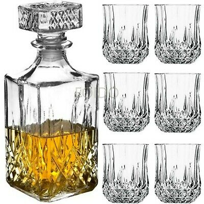 £9.95 • Buy 6 X 200ML GLASS WHISKEY WINE TUMBLERS & SQUARE GLASS DECANTER BOTTLE BOXED SET