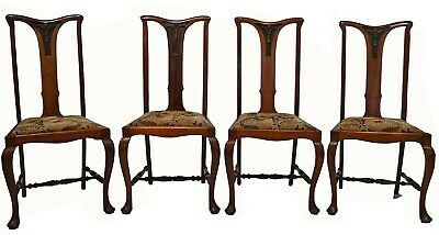 $1000 • Buy Antique C.1910 Set Of 4 English Art Nouveau Mahogany Dining Chairs