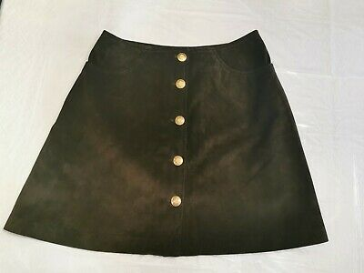 $ CDN75 • Buy Vintage Danier Leather Suede Olive Green Button Up Skirt Size 10