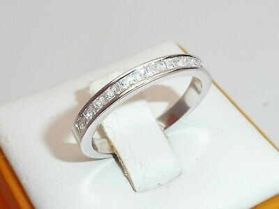 Ladies 925 Solid Silver Princess Cut 12 Stone White Sapphire Half Eternity Ring • 22.95£
