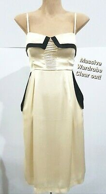 AU37 • Buy LADAKH 90s Y2K Ivory/Black Satin Midi Dress Sz 10/12 Real Pockets VGC