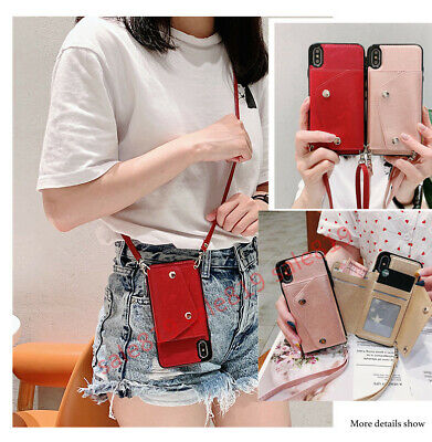 AU15.30 • Buy Crossbody Card Wallet Holder With Long Rope Flip PU Leather Case Cover For Phone