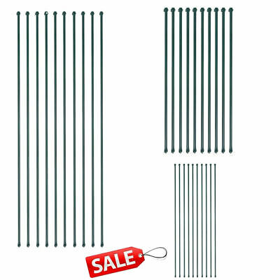 10x Garden Metal Posts Metal Green Fencing Plant Supports Spikes Fence Gate UK • 57.58£