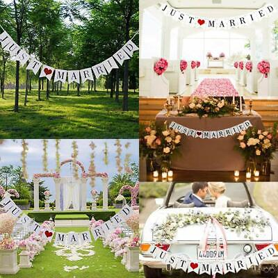 Just Married Flag Wedding Banner Party Bunting Banners Decoration Garden Outdoor • 4.69£