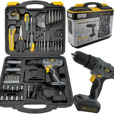 View Details 77 Pieces Household Lithium Battery Cordless Drill Driver Power Drill With  • 64.99$