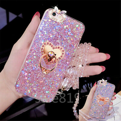 AU10.37 • Buy Bling Crystal Rhinestone With Strap Glitter Ring Stand Soft TPU Phone Case Cover