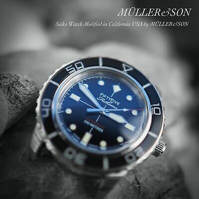 $ CDN381.28 • Buy Müller&Son Watch  Black Mod 1 No Date  Made From Seiko SNZH55 Fifty Five Fathoms