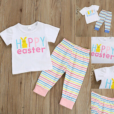 2PCS Newborn Baby Girl Boy Easter Clothes Short Sleeve Tops + Pants Outfits Set • 4.19£