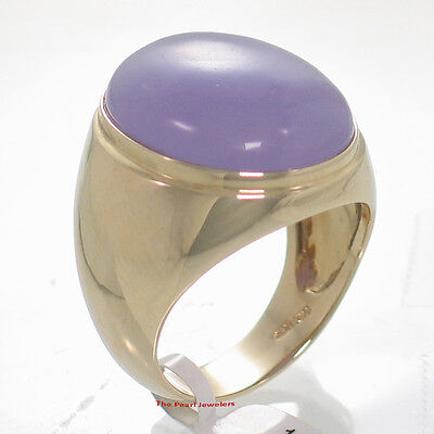 £659.81 • Buy 14k Solid Yellow Gold 17x21mm Cabochon Lavender Jade Solitaire Men's Ring TPJ