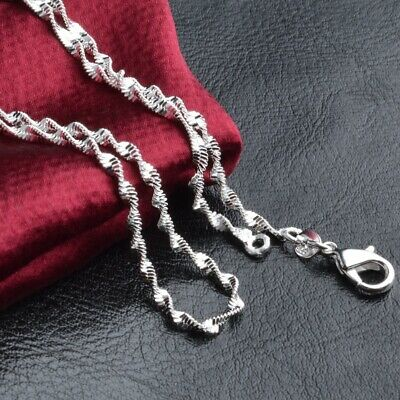£1.99 • Buy 925 Sterling Silver Plated Ball Beads CHAIN NECKLACE Curb Rope Gift Water Wave