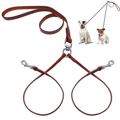 AU15.99 • Buy Durable Leather 2 Way Dog Coupler Lead For 2 Twin Dogs Walking Leash With Handle