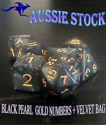 AU9.98 • Buy Polyhedral Black & Gold 7 Piece Pearl Dnd Dice Set For Dungeons & Dragons RPG