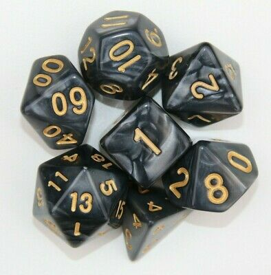 AU10.98 • Buy Dungeons & Dragons Polyhedral Black & Gold 7 Piece Pearl Dnd Dice Set For RPG