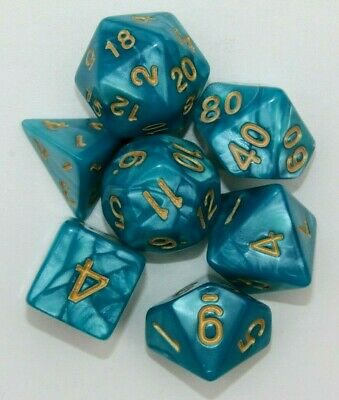 AU8.98 • Buy Dungeons & Dragons Polyhedral Teal & Gold 7 Piece Pearl Dnd Dice Set For RPG
