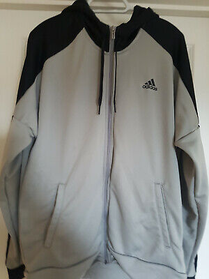 Adidas Mens Grey Full Zip Hooded Track Top Size L • 15£