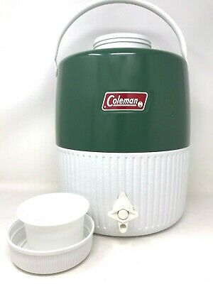 $25 • Buy Vintage Coleman Jug Cooler Green 2 Gallon Water Thermos Camping W/ Drink Cup 82