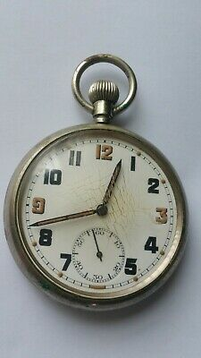 WW2 British Military Watch Cal 433 Pocket Watch Bravingtons, Fully Working • 65£