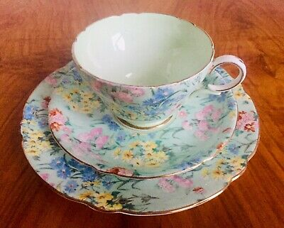 Vintage Shelley Melody Bone China Chintz Trio - Tea Cup Saucer Plate • 28£