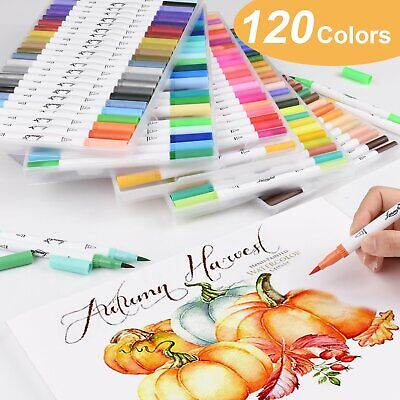 $39.59 • Buy Real Brush Pens 120 Colors For Watercolor Painting With Flexible Nylon Dual Tips