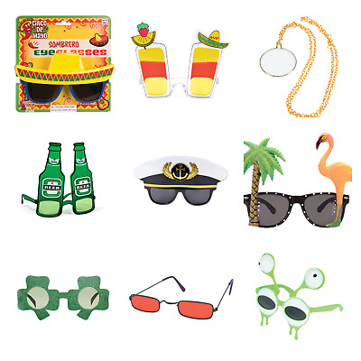 MENS WOMENS NOVELTY FUNNY GLASSES SHADES FANCY DRESS ACCESSORIES SPECS 20+option • 4£