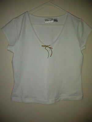 Vtg 90s Womens LARGE Adorable White Top Leather String Bow • 8.05£