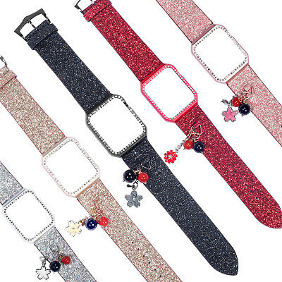 $ CDN10.57 • Buy For Apple Watch Series 5 4 3 2 1 Glitter Leather Wrist Band Strap Bracelet Case