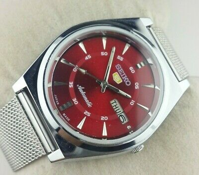 $ CDN157.07 • Buy Vintage Seiko 5 Excellent Red Dial Automatic Japan Men's  Wrist Watch Mn.