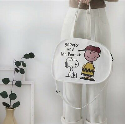 New Women's Girls Vintage Snoopy & Mr.Peanut Canvas Tote /Crossbody Shoulder Bag • 15.99£