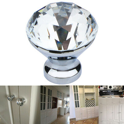 10PCS Clear Crystal Glass Door Knobs Cupboard Drawer Furniture Handles Cabinet • 7.89£