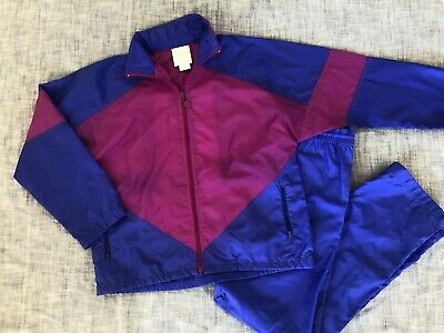 $100 • Buy Vintage Adidas Womens Sz SMALL Track Suit Blue Pink Fuchsia Zip Up Matching Set