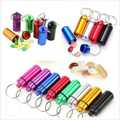 $8.99 • Buy 9pcs Pill Bottle Holder MINI Anti-water Aluminum Container Keychain Case Metal