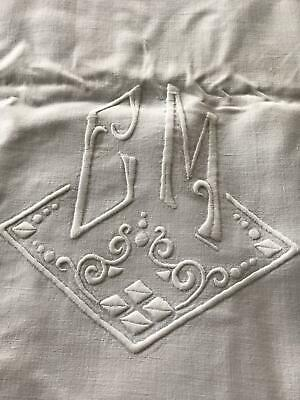 Antique Victorian French LINEN Bed Sheet 208cm X 324cm Vintage Embroidery C M  • 28£