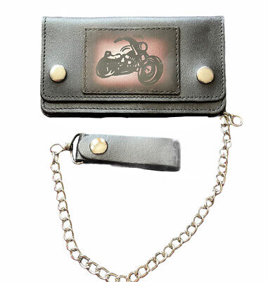Mens Biker,Rocker,Style Long   Leather Wallet With Security Chain • 16.99£