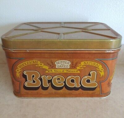 $25 • Buy Vintage Bread Box Tin Brown Yellow And Gold Better Baked Brand Wheat Design 1978