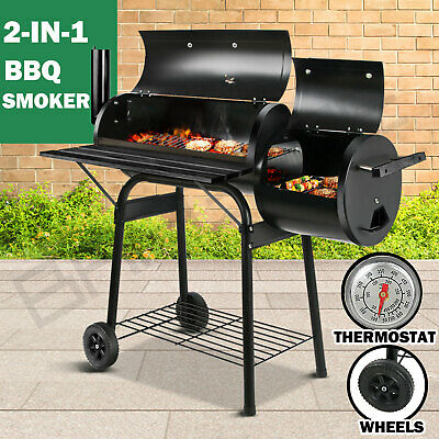 AU125.95 • Buy 2in1 BBQ Smoker Charcoal Grill Roaster Portable Offset Outdoor Camping Barbecue