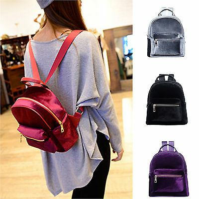 $20.29 • Buy Women Girls Velvet Mini Backpack Zip School Shoulder Bag Travel Rucksack SATCHEL
