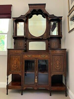 AU995 • Buy Antique Late Victorian Mirrored Sideboard/ Display Cabinet - Rosewood