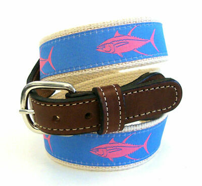 $22.99 • Buy TUNA YELLOW FIN Embroidered Leather Canvas Ribbon Fishing Belt  NWT Select Size