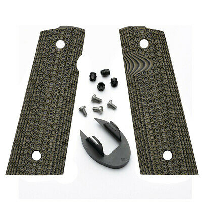 $34.99 • Buy 1911 Grips & Magwell Set For Officer Size Models- G10 Grips + Magwell & Screws